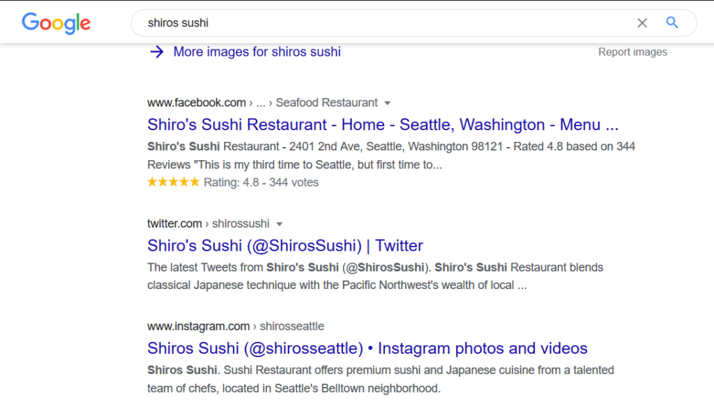 Shiros Sushi SERP With Social Media Pages