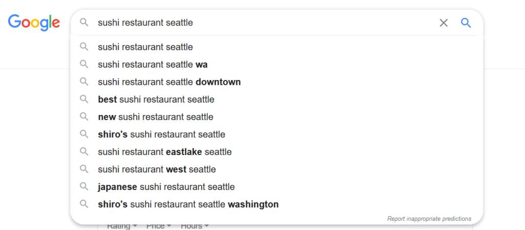 Sushi Restaurant Seattle Autocomplete