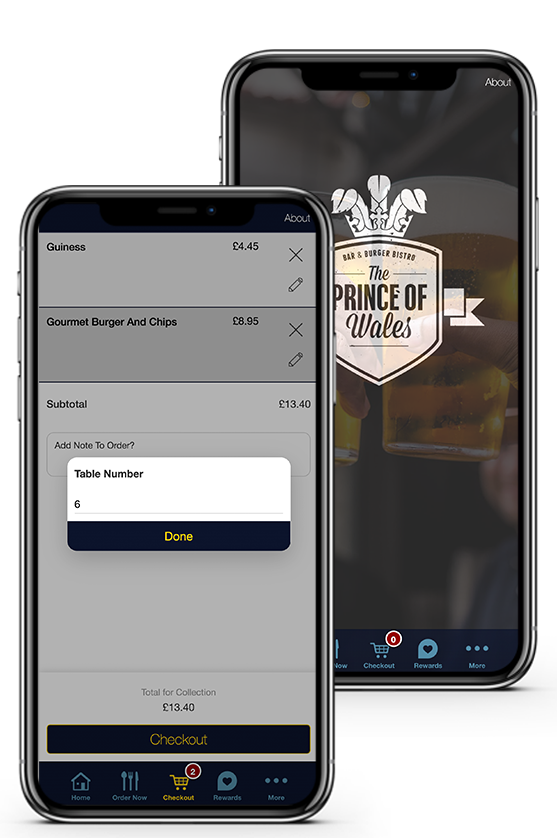 bar and pub apps mockup