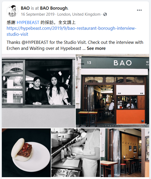 BAO restaurant facebook post
