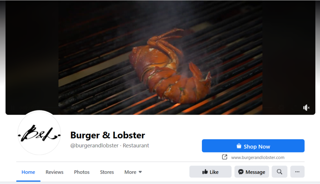 burger and lobster restuarant facebook page