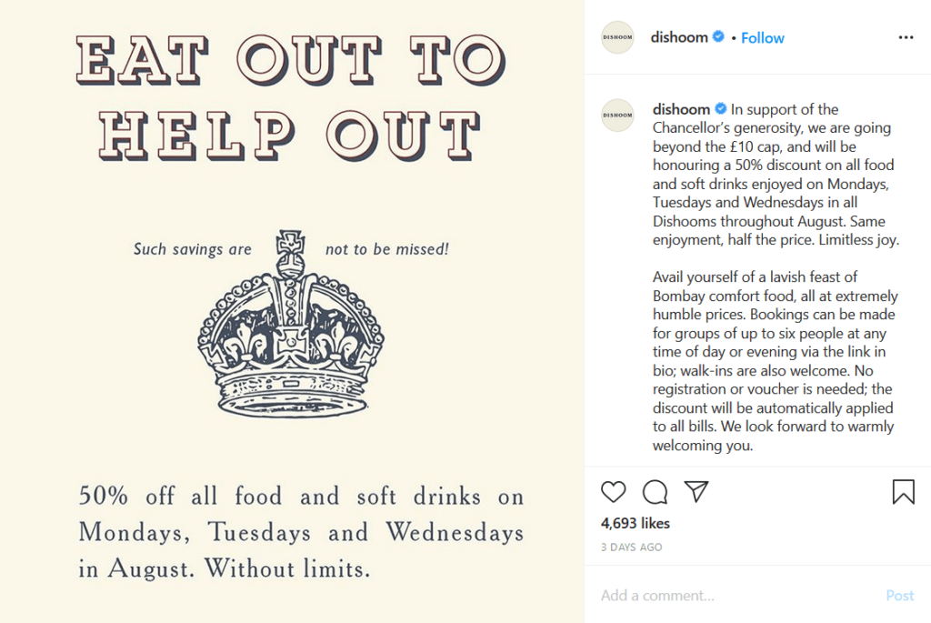 eat out to help out instagram post dishoom
