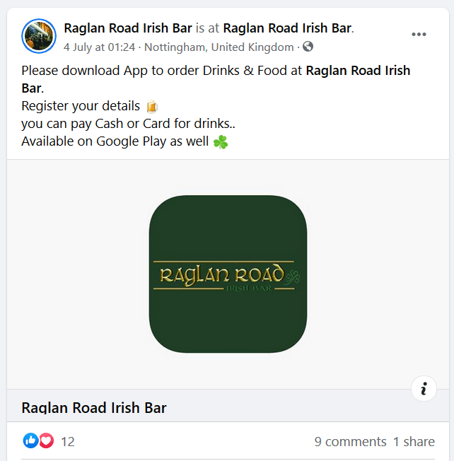 raglan road bar app facebook promo
