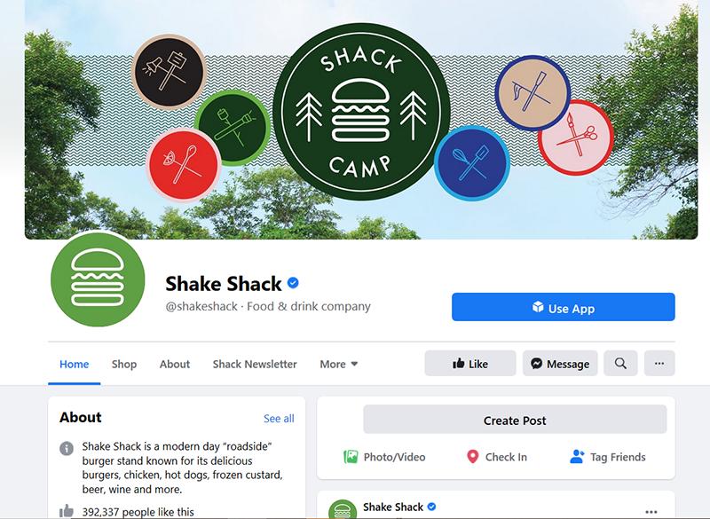 shake shack restaurant facebook page