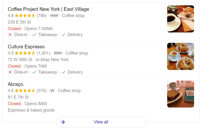 Example Coffee Shop Google Profile