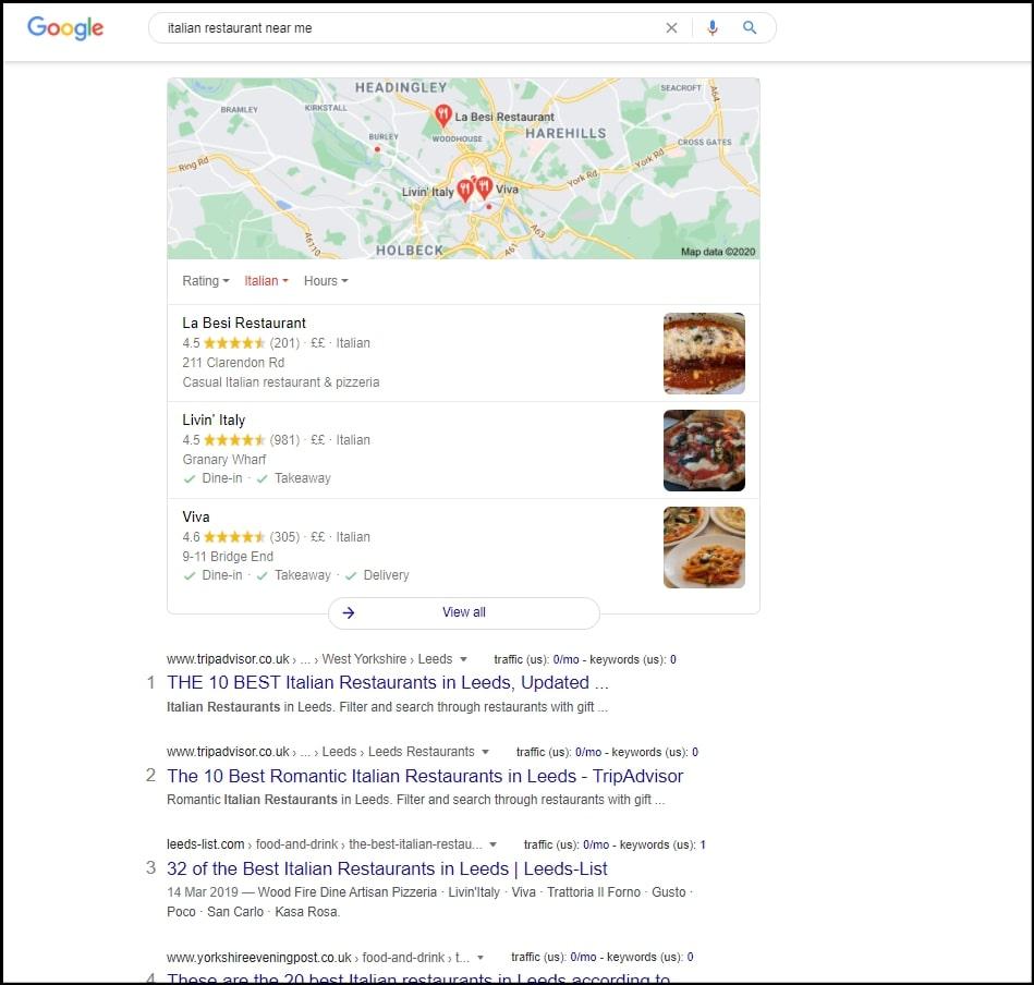 italian restaurant near me search screenshot