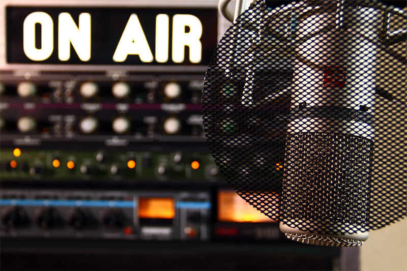 radio microphone and on air sign