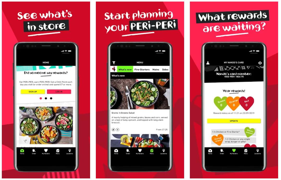 nandos restaurant app example
