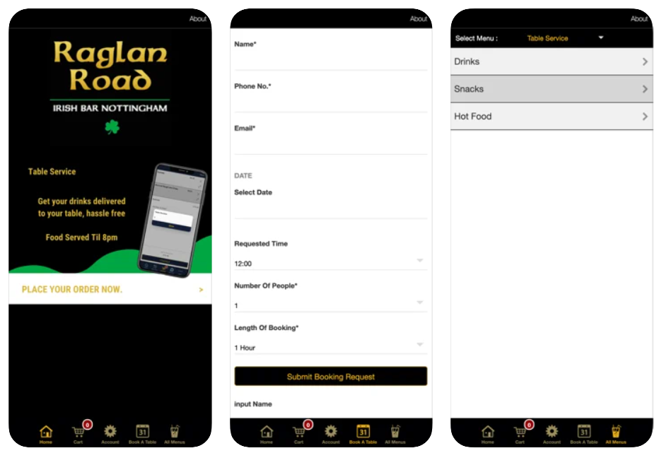 raglan road restaurant app example