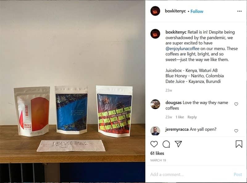 boxkite coffee shop instagram