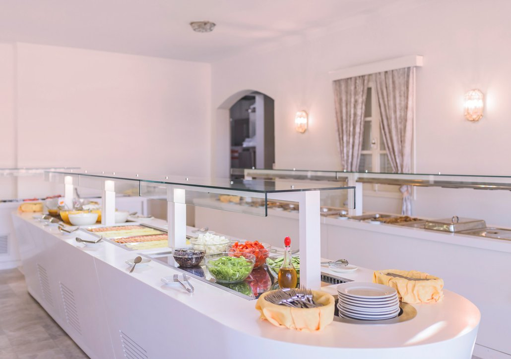 Our buffet from distance with our delicious food