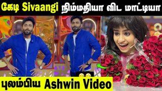 Kedi Fellow Sivaangi - Ashwin's Cute Video || Cook With Comali Shooting Fun Video