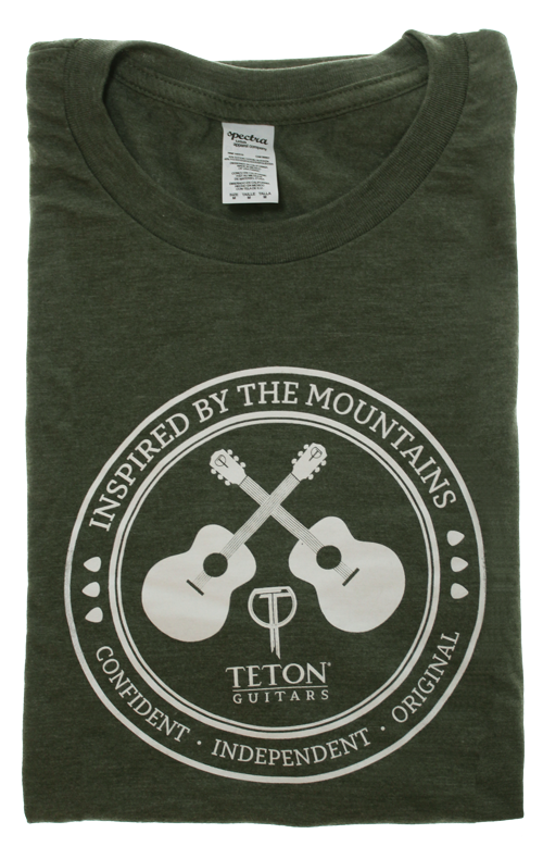 "Olive Teton Guitars T-shirt 2017 ""Inspired by the Mountains"""