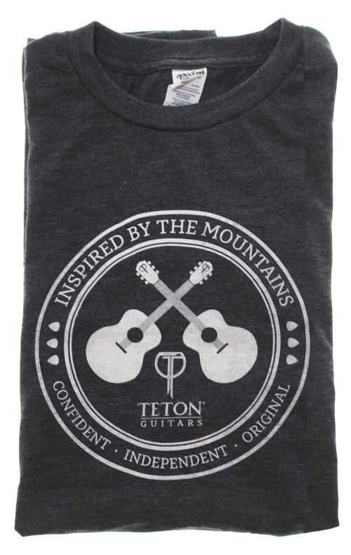 "Charcoal Teton Guitars T-shirt 2017 ""Inspired by the Mountains"""