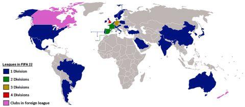 Všechny ligy ve FIFA 22 •Foto: Reddit