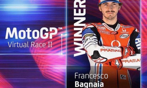 V druhém virtuálním závodu MotoGP byl nejrychlejší Bagnaia
