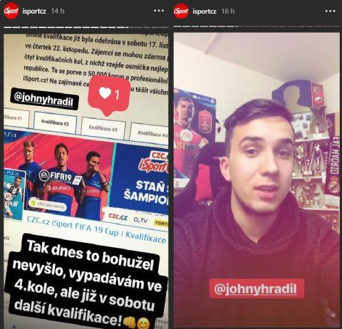 Známý hráč FIFA 19 The Johny přiblížil průběh druhé kvalifikace CZC.cz iSportCupu na Instagramu @isportcz •Foto: Instagram