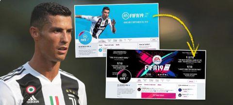 Společnost EA Sports stáhla obrázek Cristiana Ronalda spojený s hrou FIFA 19 ze svého webu i sociálních sítí •Foto: Koláž iSport.cz