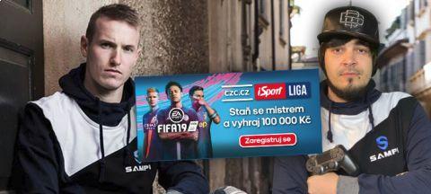 Reprezentant Jakub Jankto vysílá profesionálního hráče FIFA ze svého týmu do iSport LIGY •Foto: koláž iSport.cz