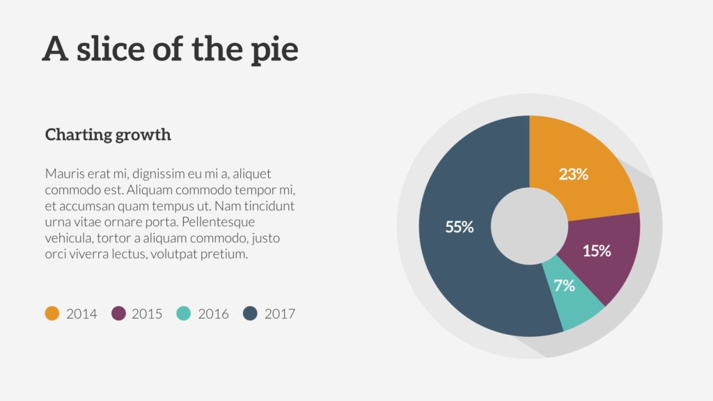 Pie chart with growth PowerPoint Slide