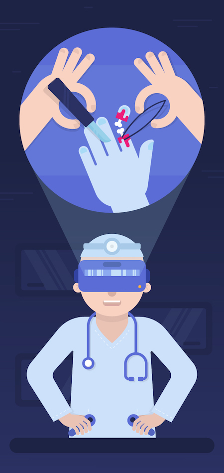 Doctor using VR to perform a surgery in Virtual Reality