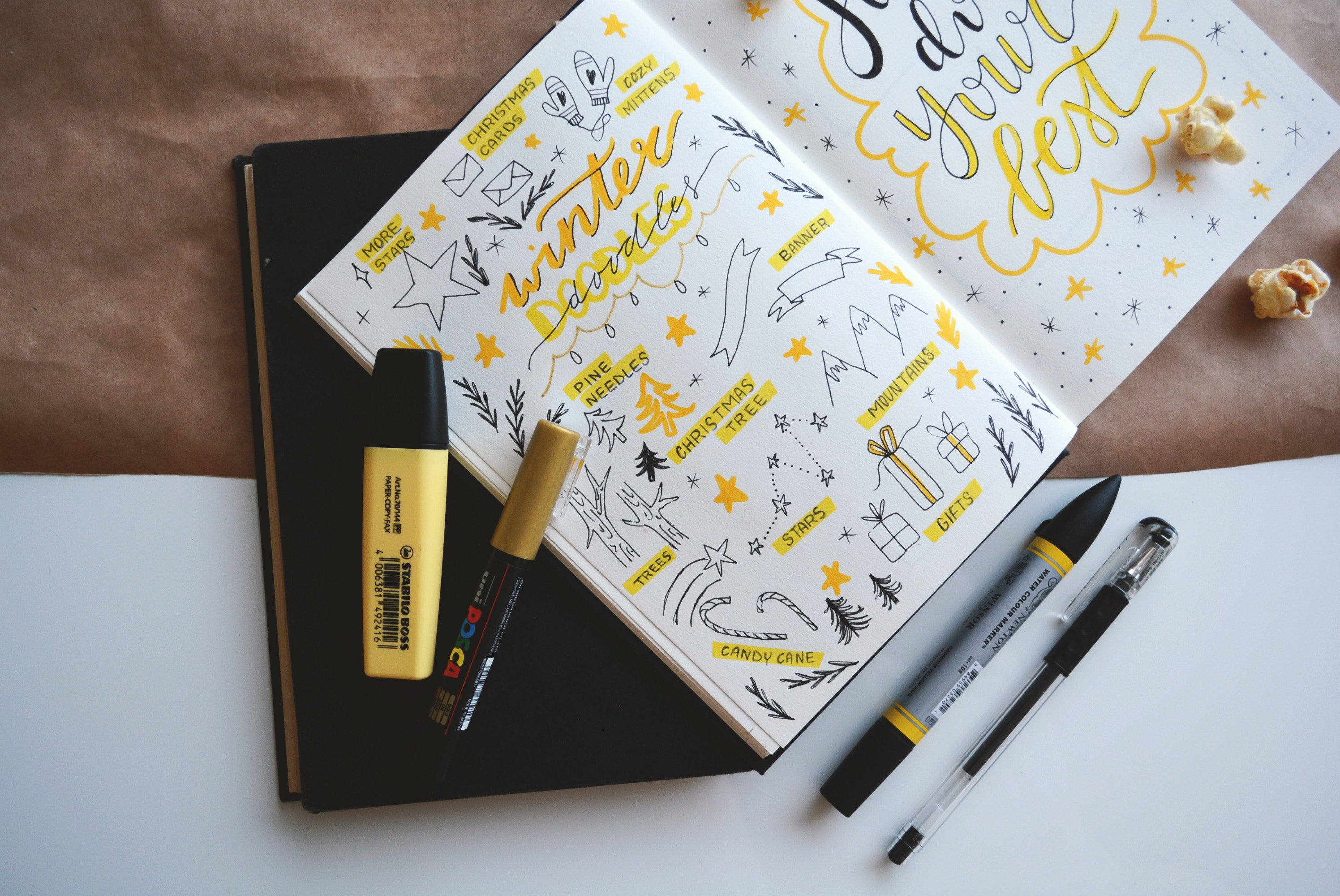 Yellow doodles in a notebook