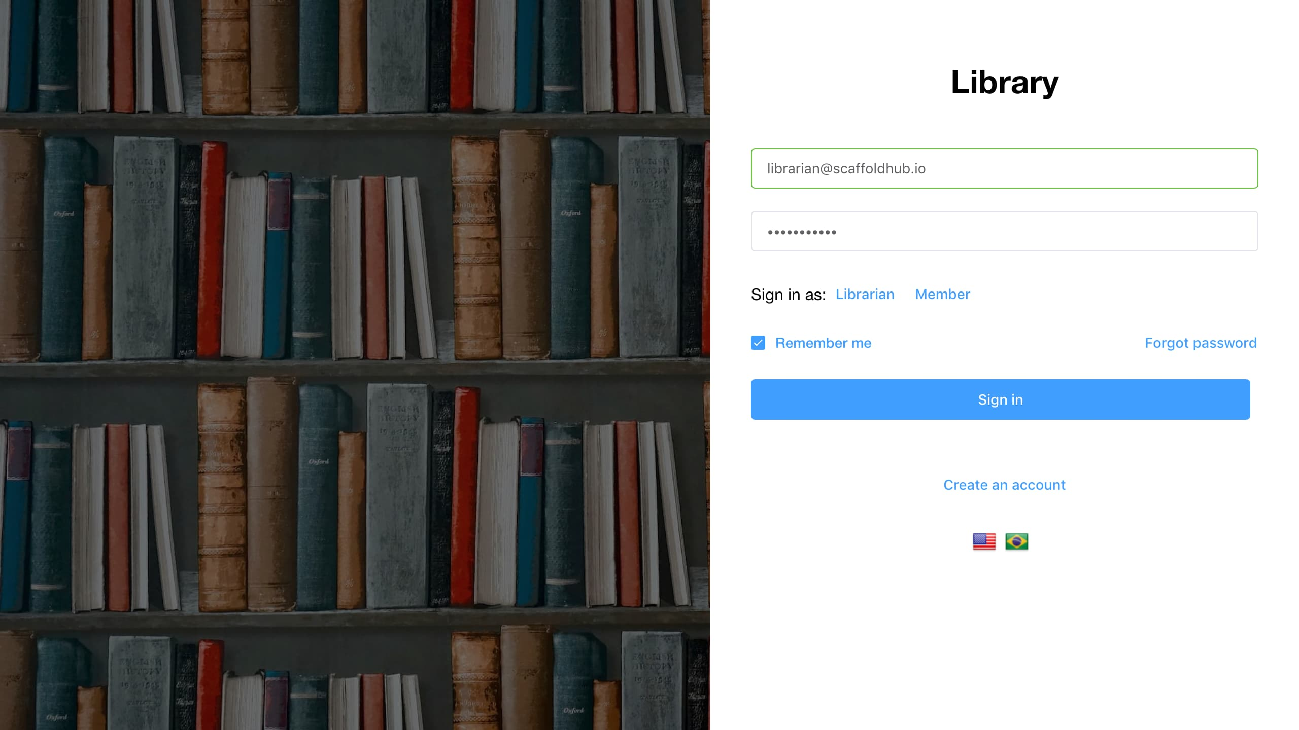 Build a Library web application with Vue, NodeJS, and SQL or MongoDB using ScaffoldHub