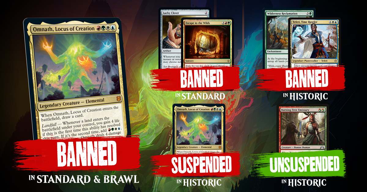 Omnath Lucky Clover Escape To The Wilds Headline Wotc Surprise Banned Restricted Announcement Scg Articles
