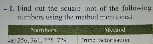 1 Find Out The Square Root Of The Following Numbers Using Scholr We start by finding any number (preferably prime) that will divide into 1521. 1 find out the square root of the