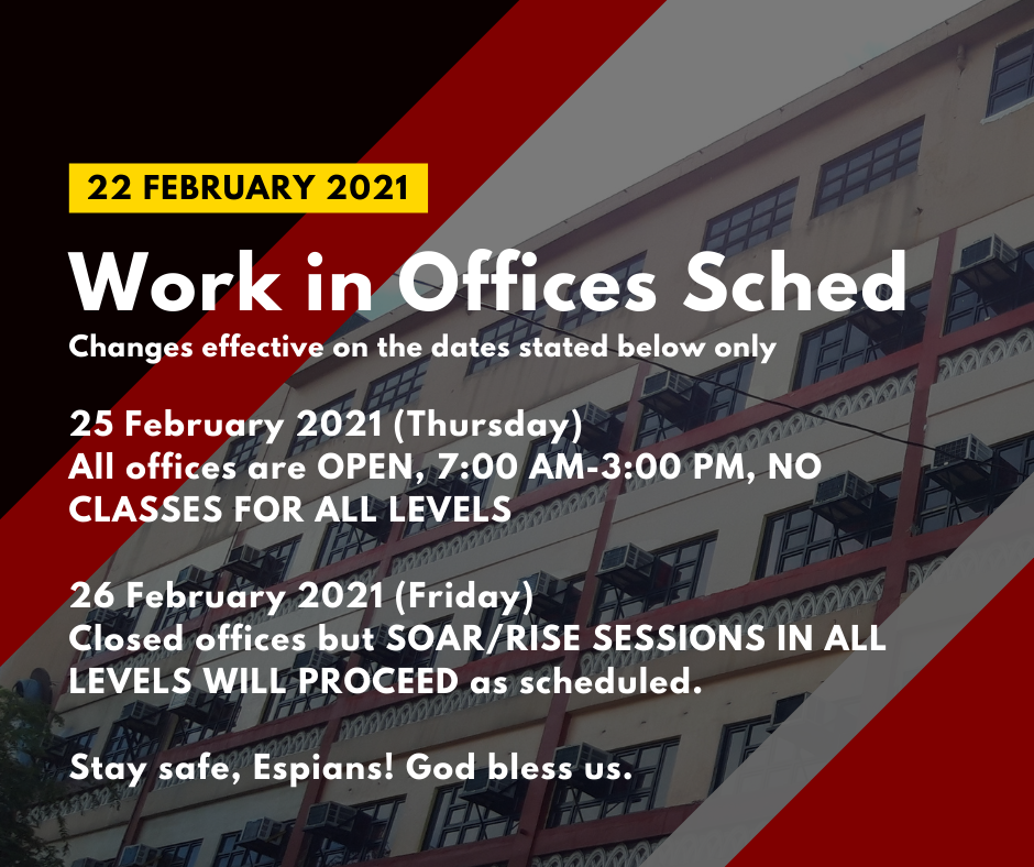 Changes on Work in Offices Schedule