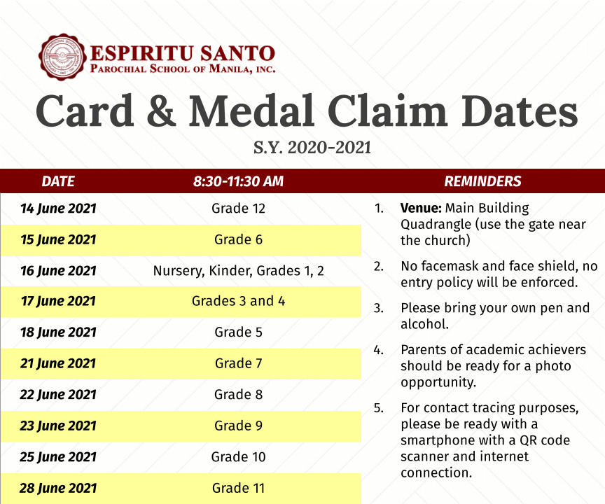 Final Card Day and Medal Claim Dates