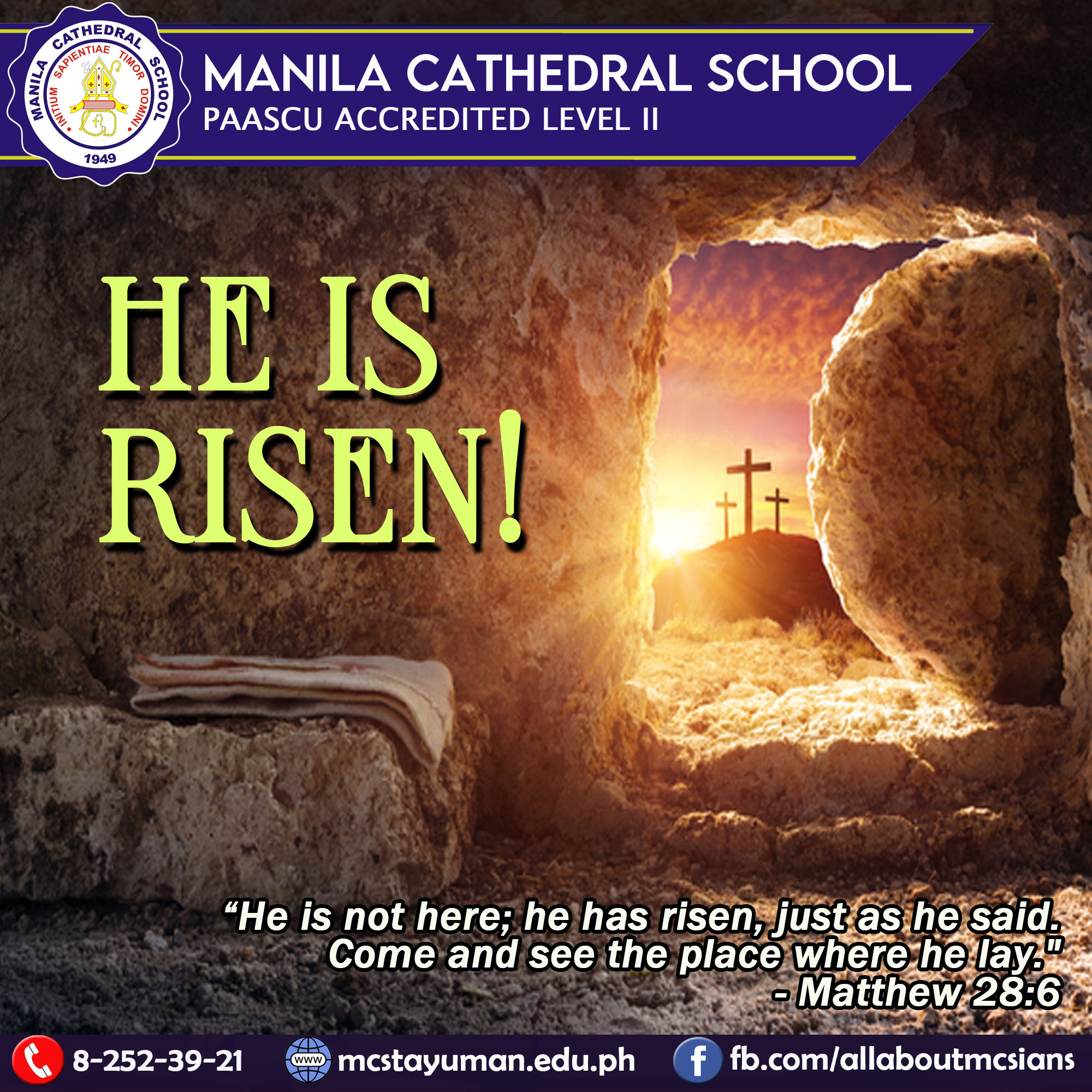 Happy Easter, MCSians! Alleluia! Christ is risen!  Rejoice in the resurrection of our Lord.