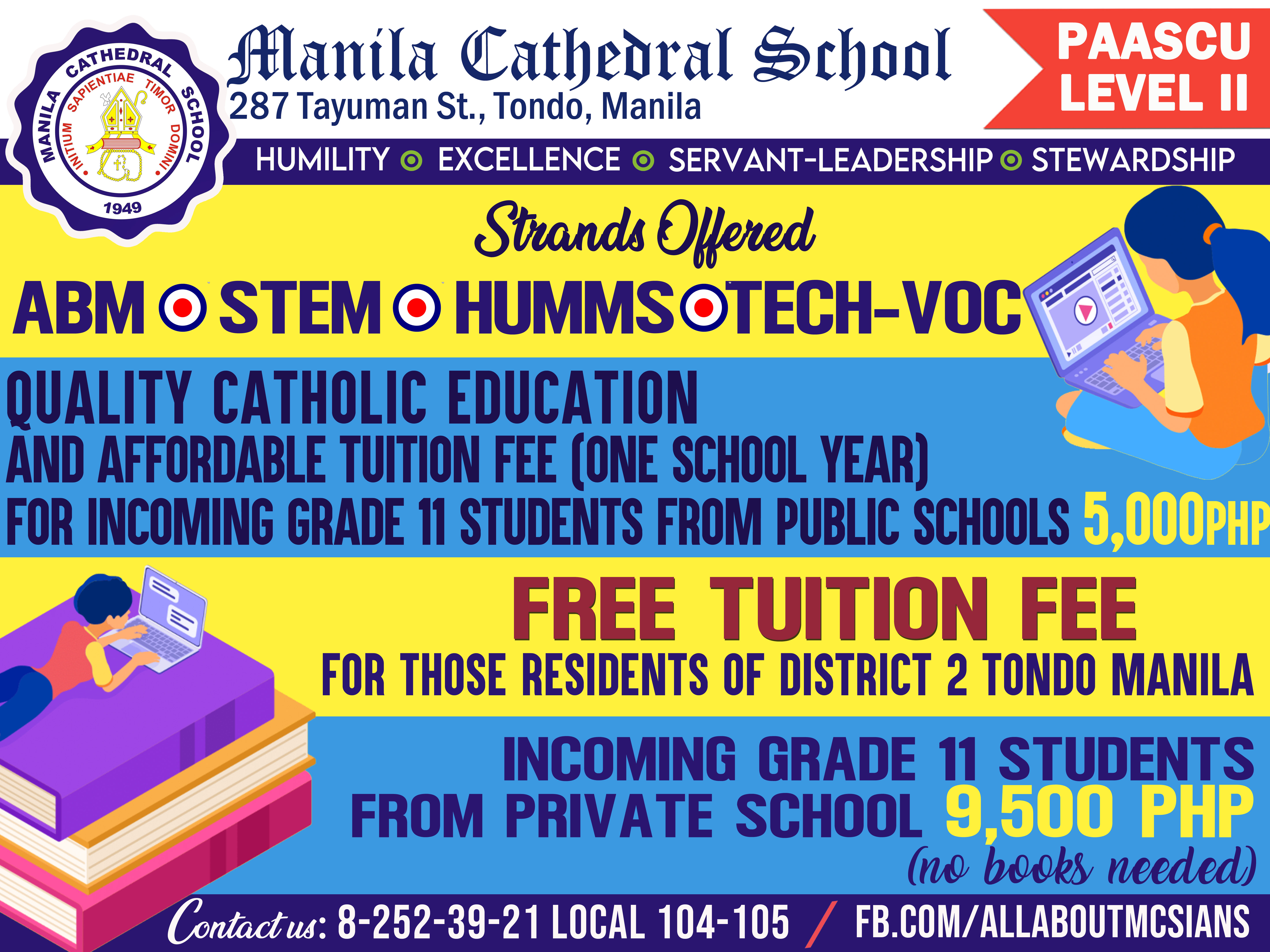 Great news for all incoming Senior High School Students!  Experience Quality Catholic Education and Be a Model of Christian Servanthood! Be an MCSian! Enroll now!