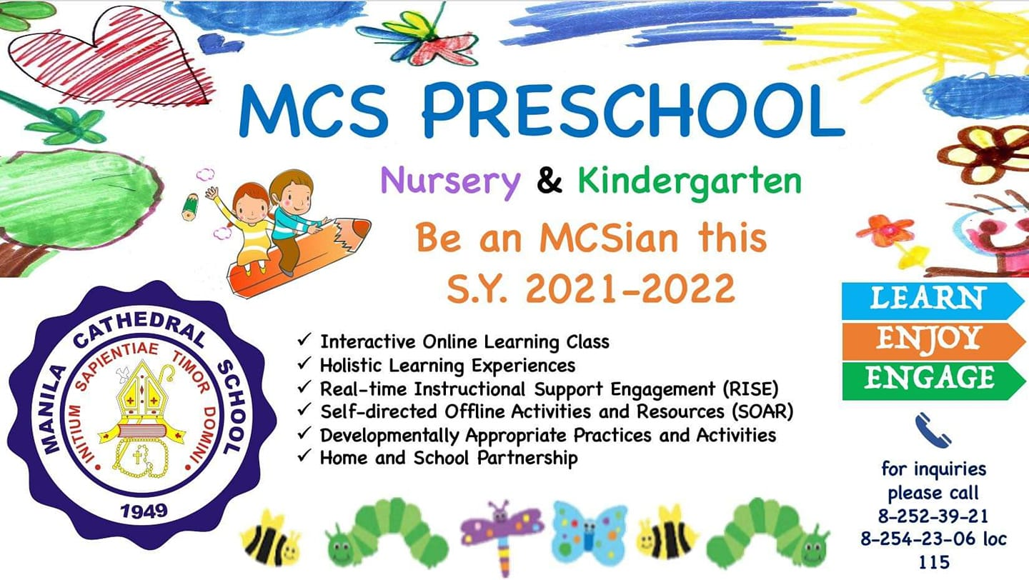Be an MCSian!???? Learn and Enjoy with MCS Preschool this S.Y. 2021-2022  Admissions ongoing! Accepting applicants from Preschool to Grade 12  Click this link for more details about online admission.