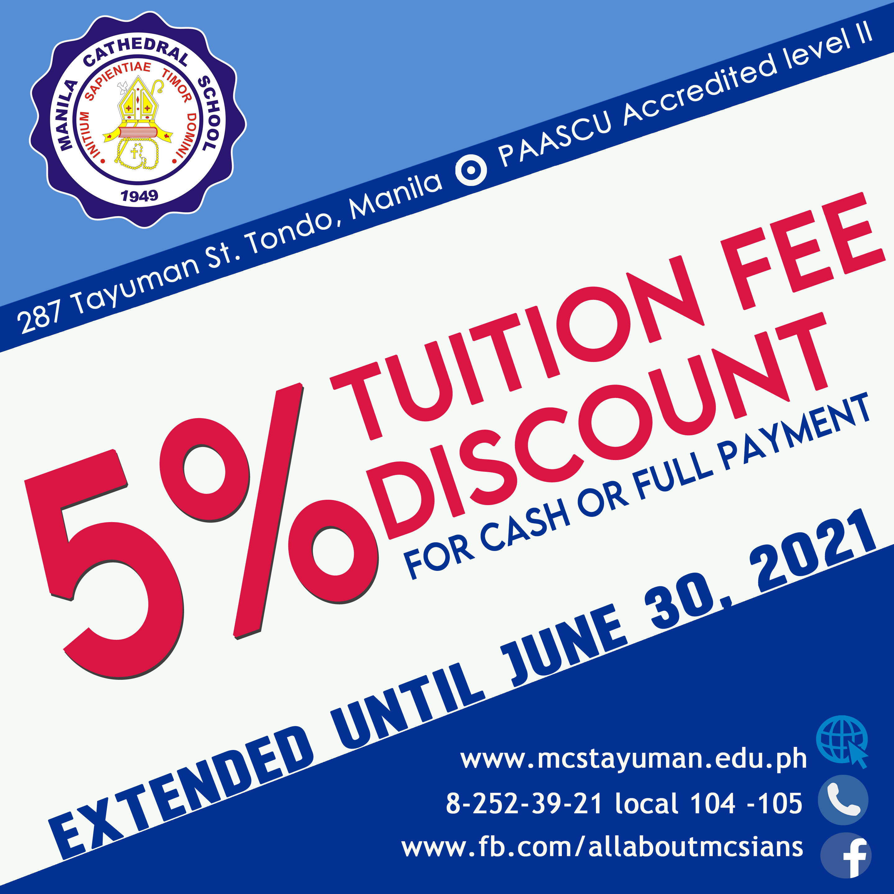 Our early enrollment discount on tuition fees is extended until June 30, 2021.