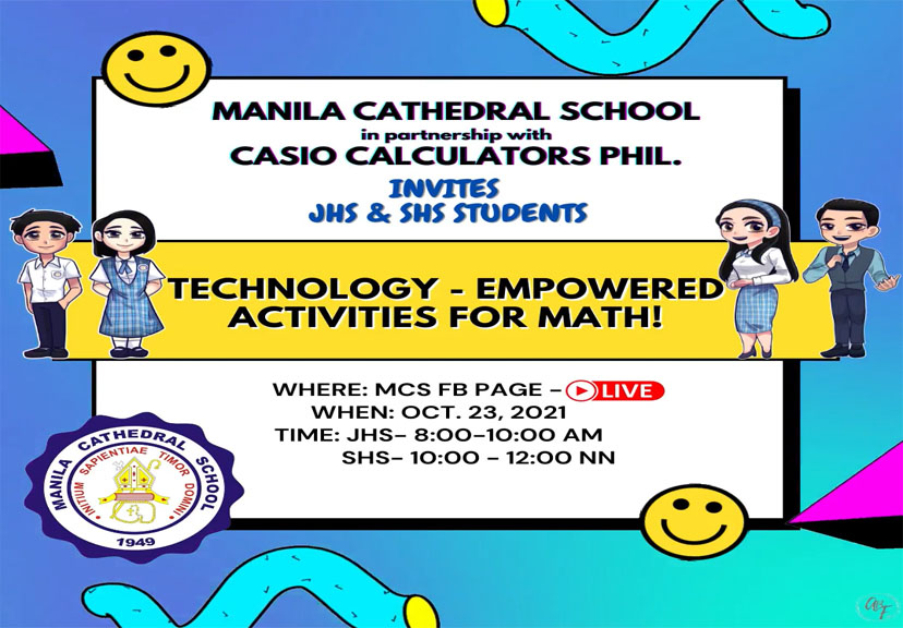 Hello MCSians! Wanna do something interesting and enjoyable? Join the TEAM of Casio Calculators, Philippines on October 23(Saturday) at 8-10 am for JHS and 10-12 for SHS.