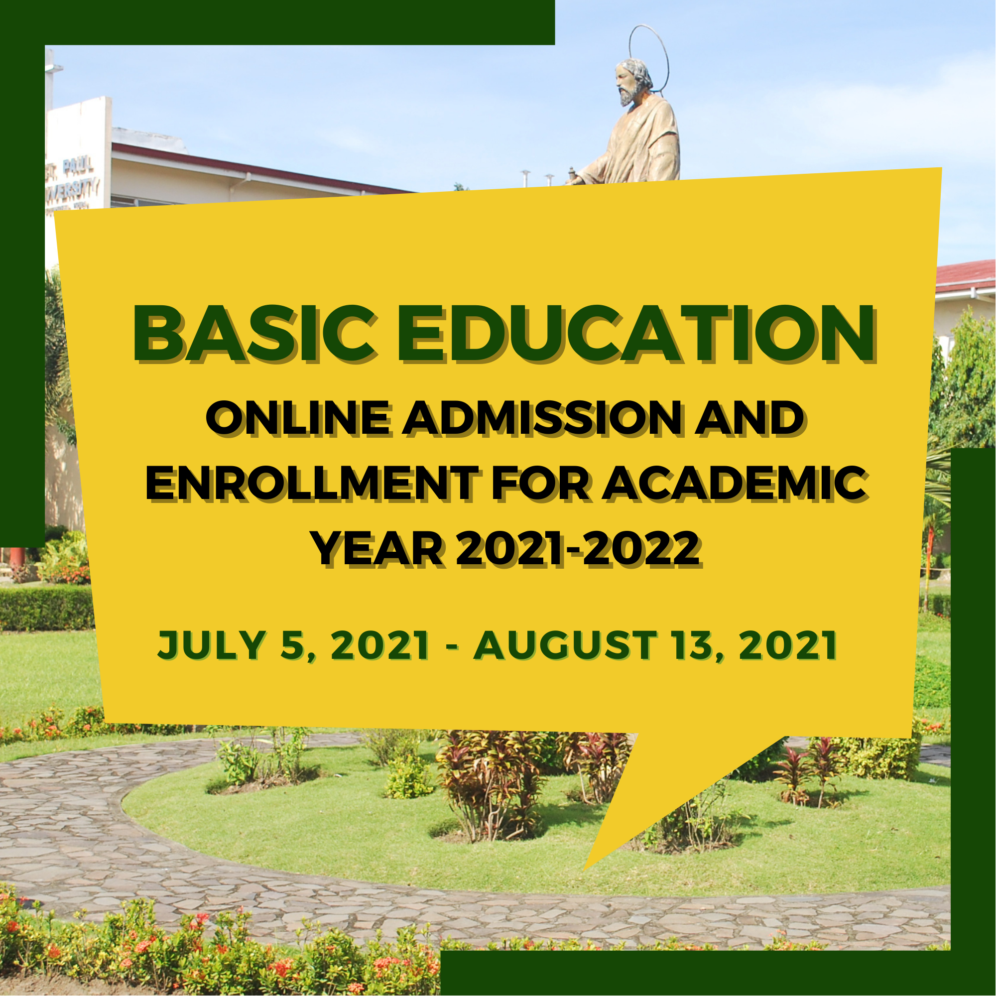 Basic Education Online Admission and Enrollment for Academic Year 2021-2022