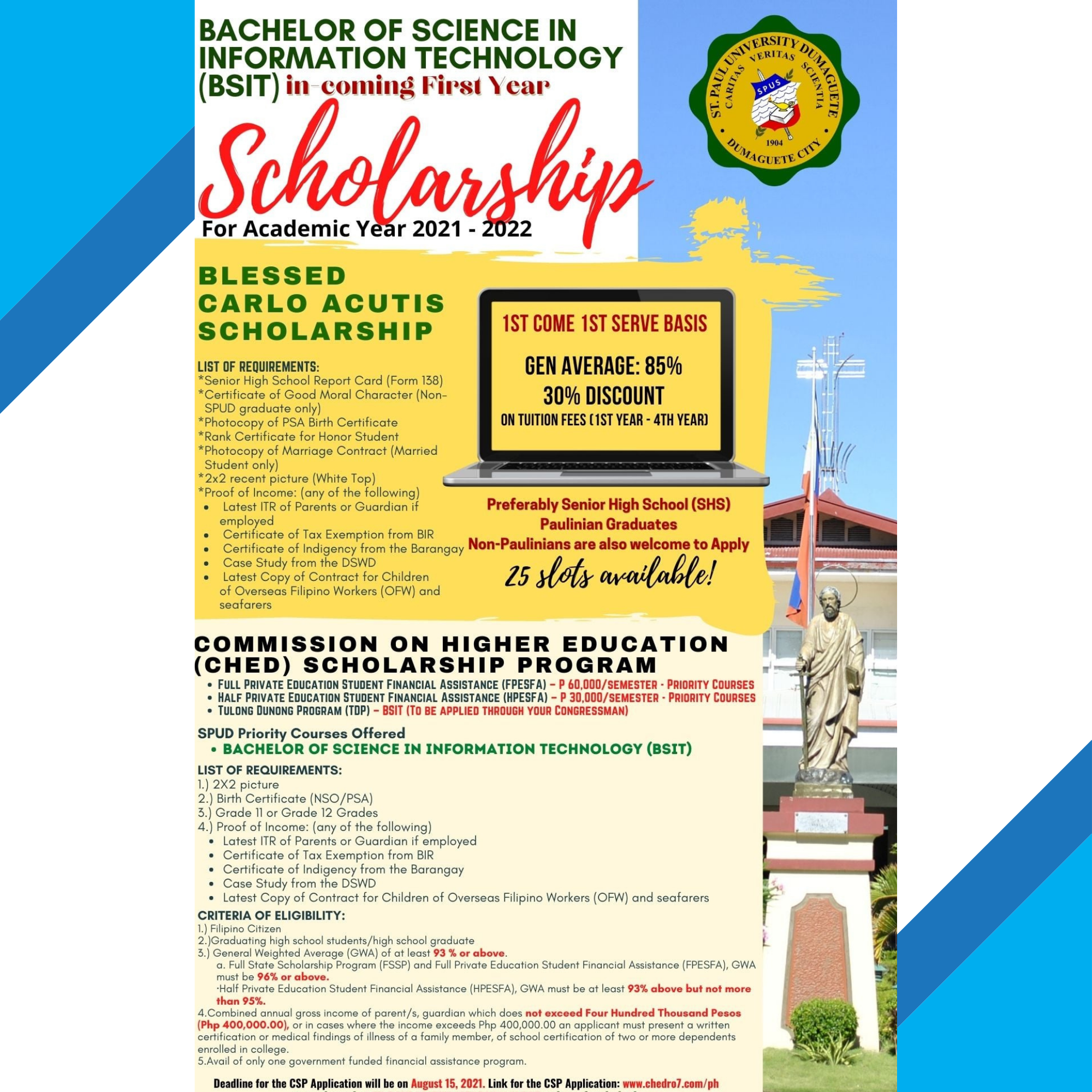 Enroll now be a Paulinian IT Professional (BLESSED CARLO ACUTIS SCHOLARSHIP)