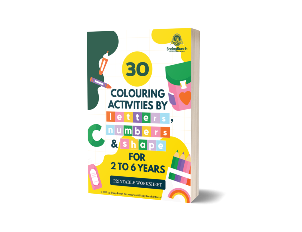 30 Colouring Activities by Letters, Numbers & Shape (Printable Worksheet) For 2 to 6 Years