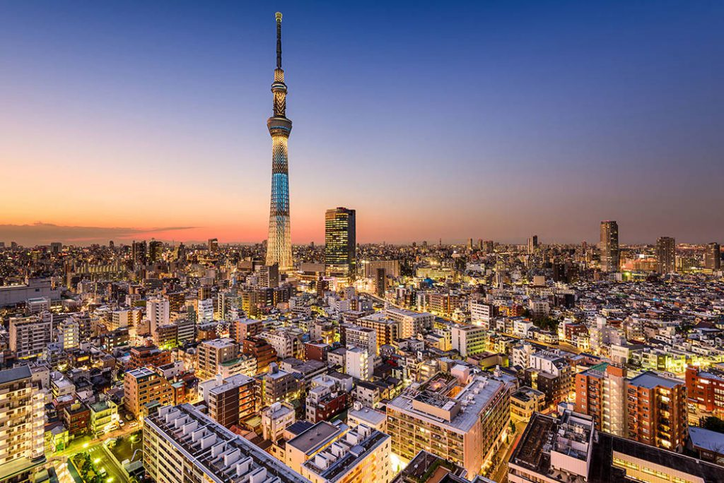 The stunning Tokyo skyline at dusk