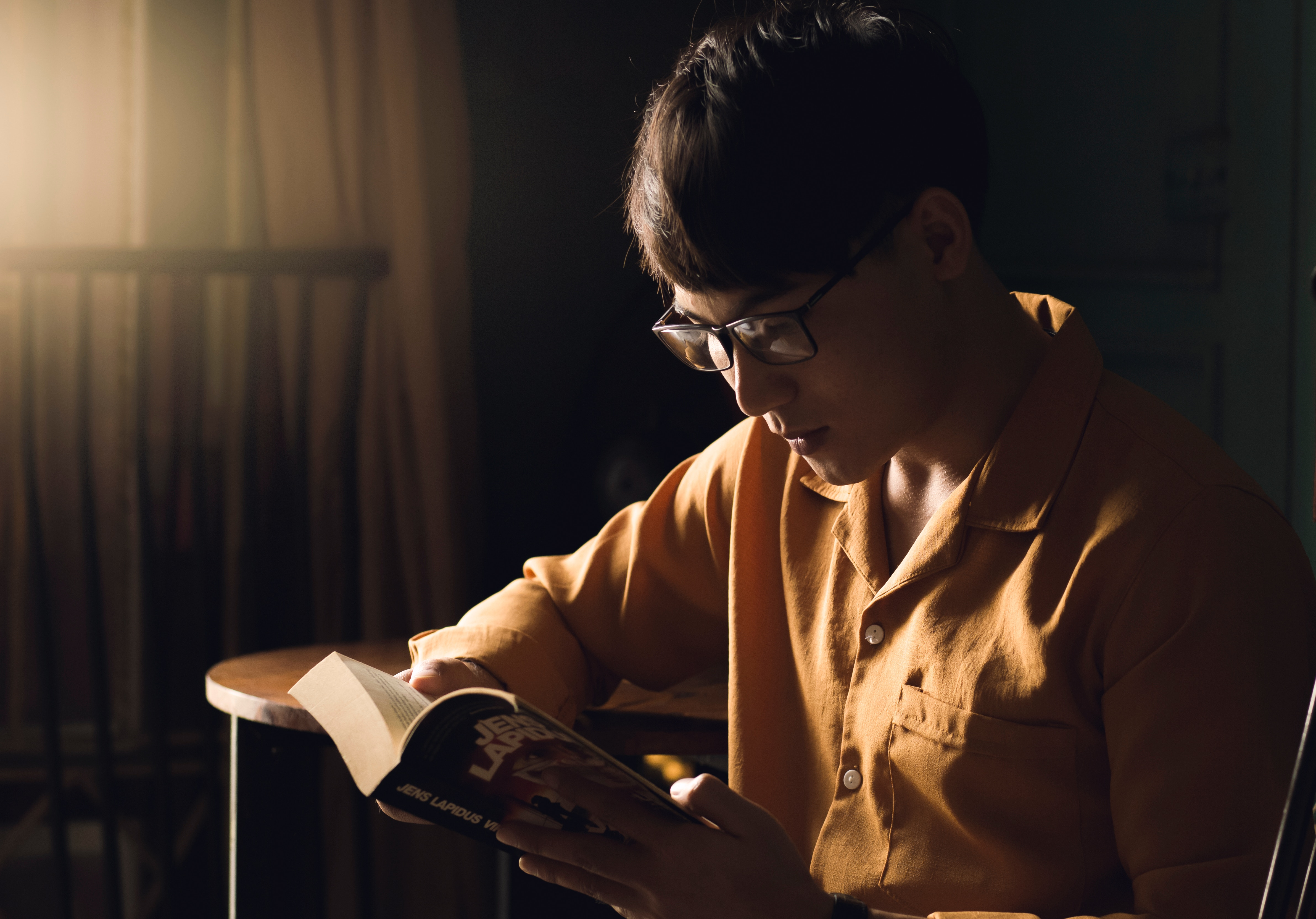 a student reading a book