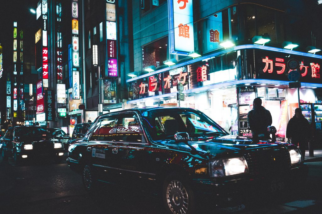 Karaoke and Japanese taxi in the city