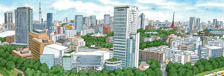 A drawing of Hosei University Campus