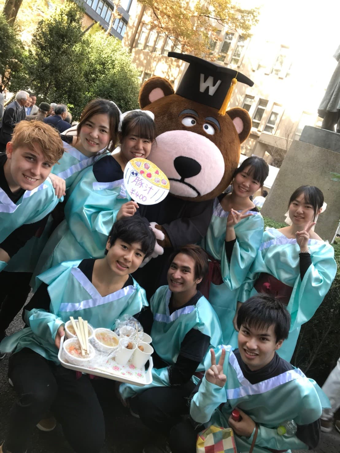 Tanabata group picture with Waseda University's Mascot