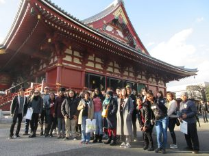 Participants of Sophia university's summer session program visits Senso-ji temple