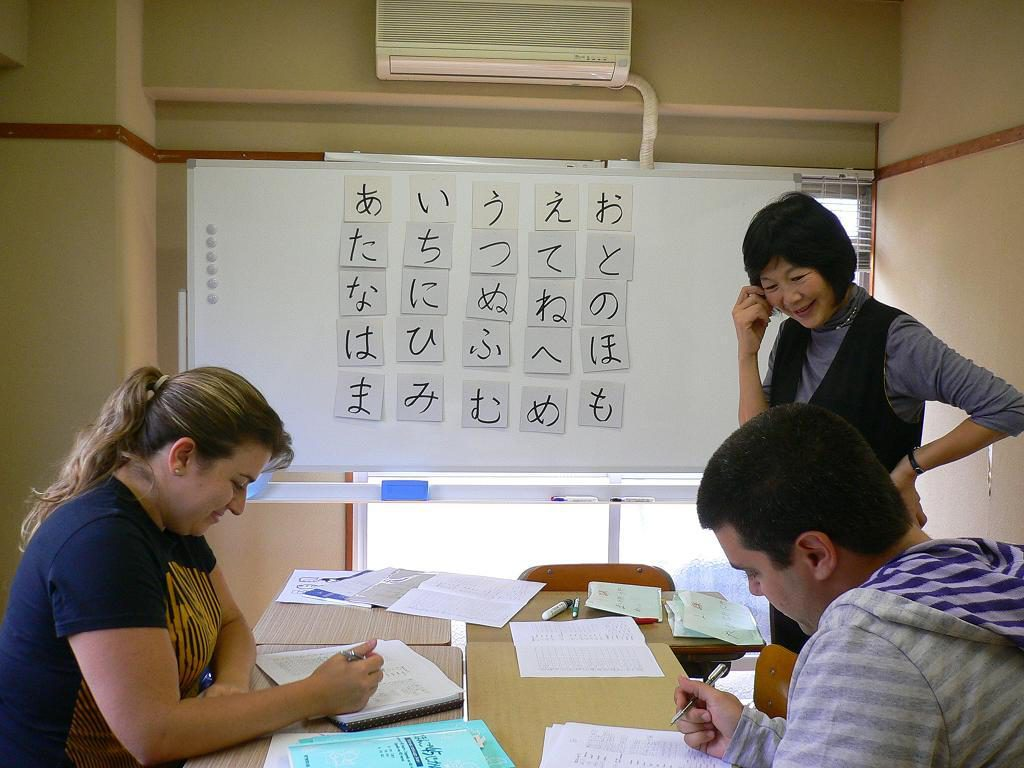 Students studying Japanese in a classroom