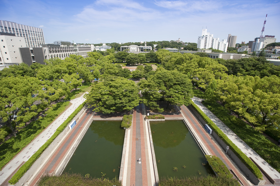 Aerial view of the campus grounds of Nagoya University.