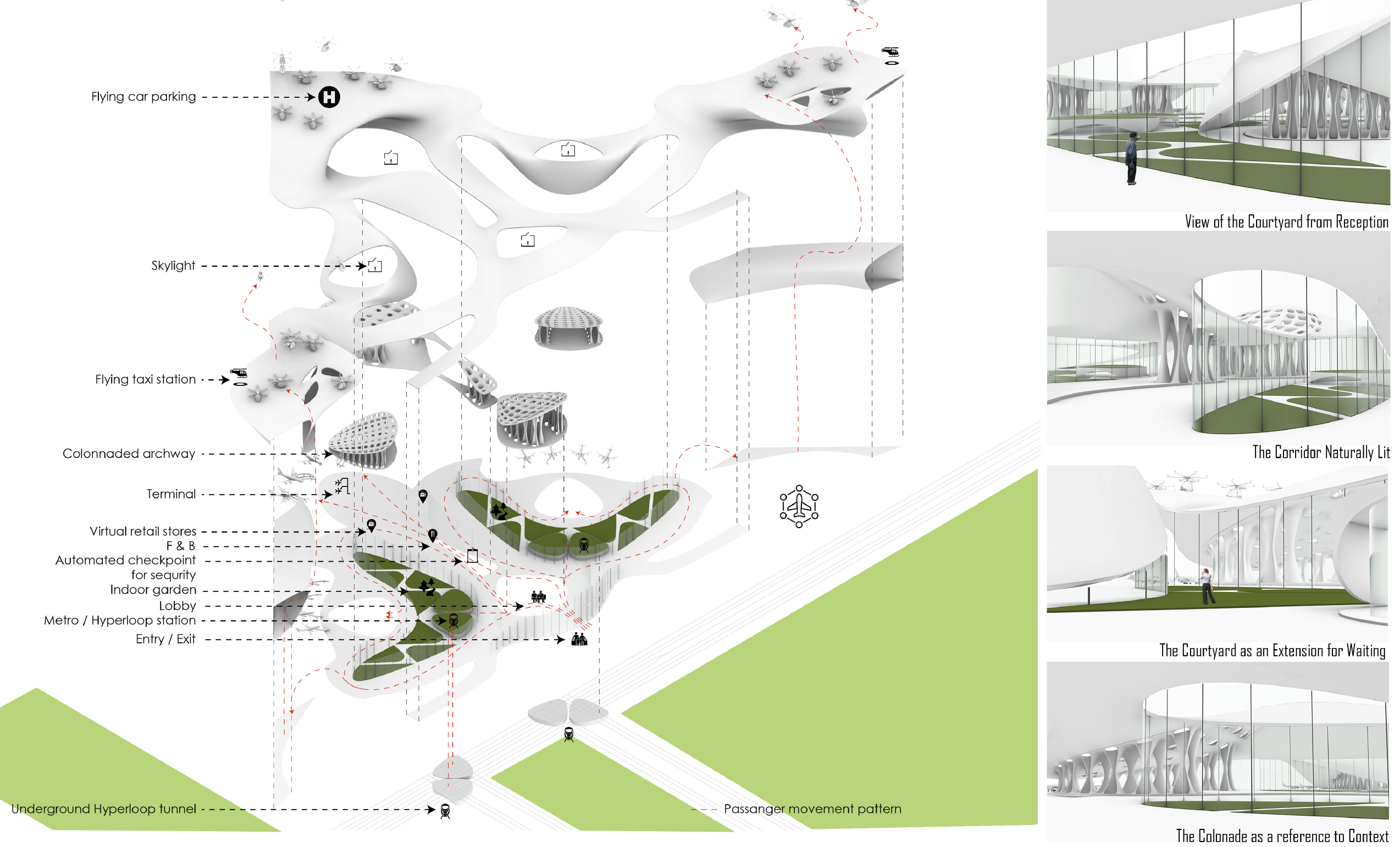 axonometric drawing architecture render