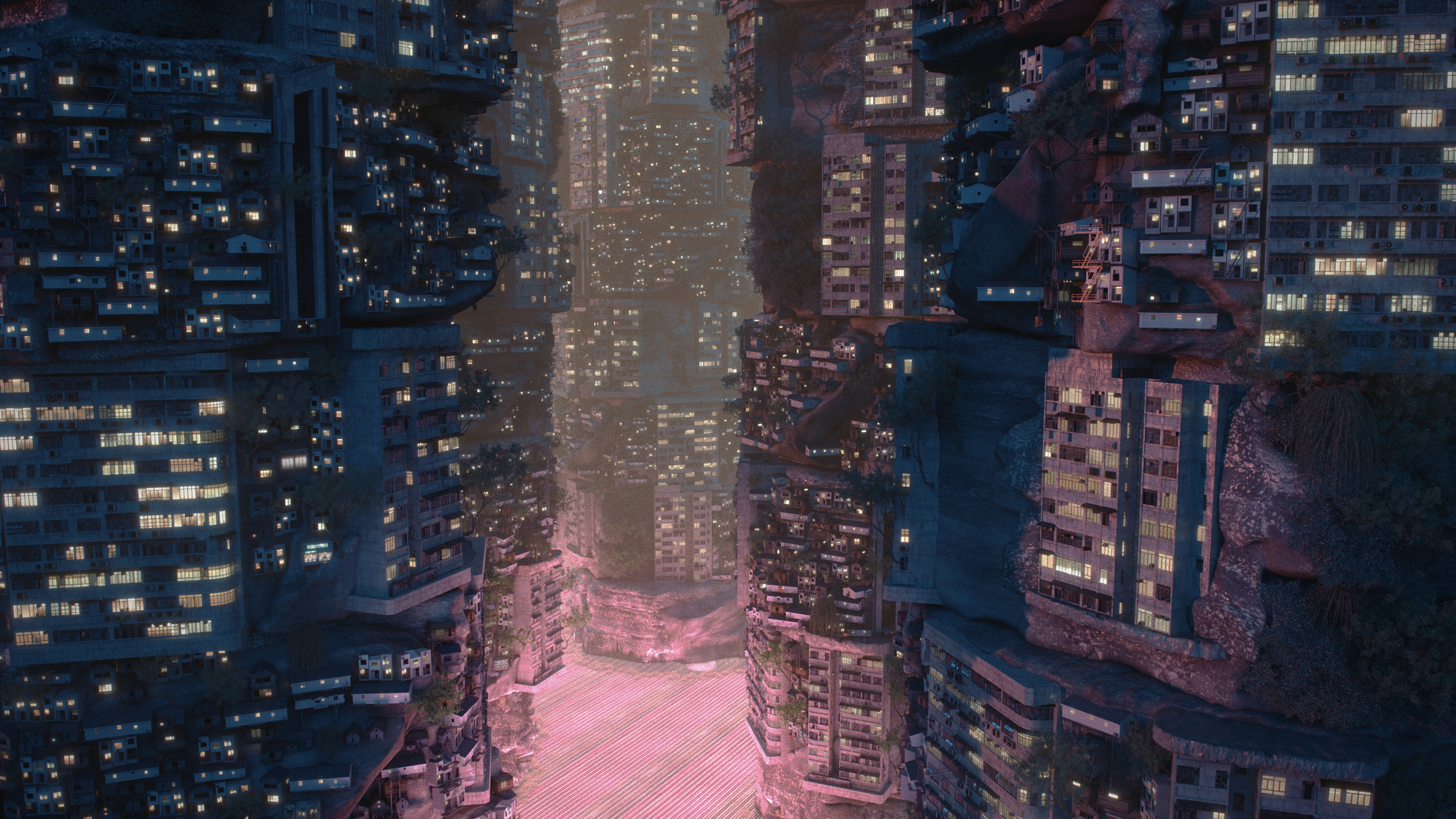 mixed reality cityscape pink ground building lights