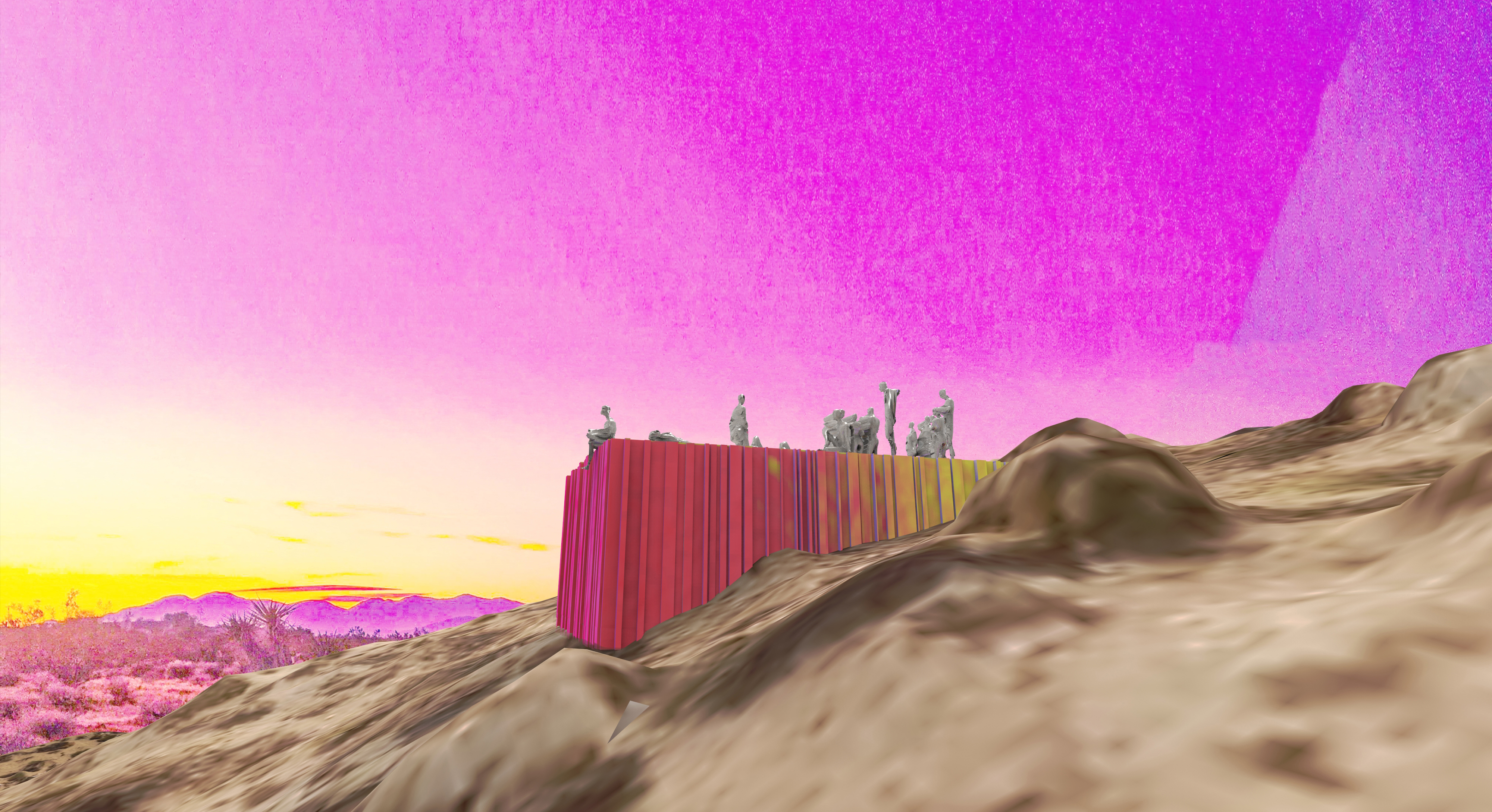 digitally produced dystopic desertscape corrugated metal box